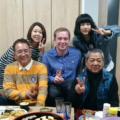 With a Japanese family